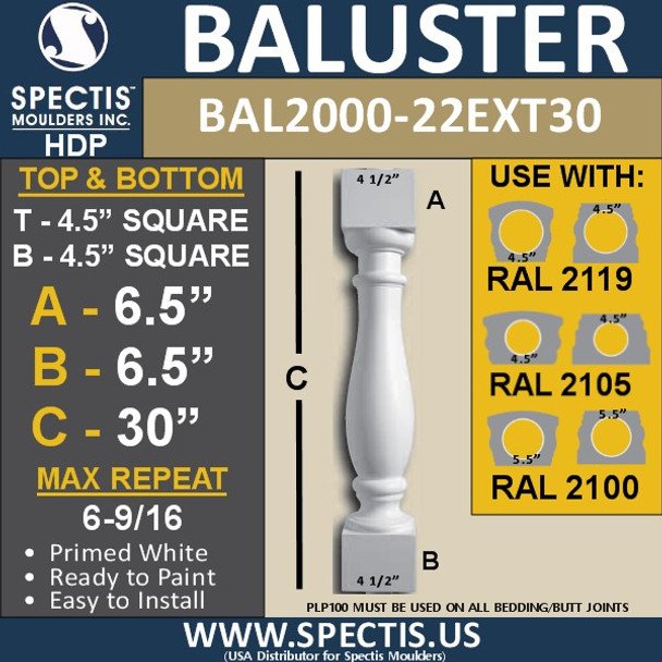 "BAL2000-22EXT30 Urethane Baluster or Spindle 4 1/2""W X 30""H"