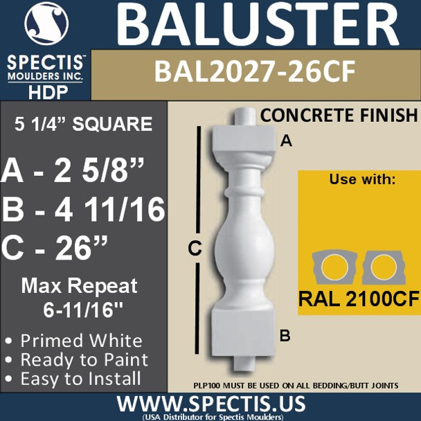 "BAL2027-26CF Concrete Finish Baluster 5 1/4""W X 26""H"