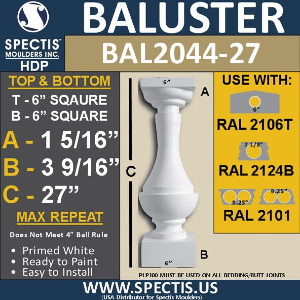 "BAL2044-27 Large Urethane Baluster or Spindle 6"" x 27"""