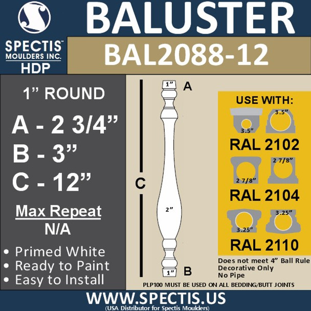 "BAL2088-12 Traditional Urethane Railing Baluster 2"" x 12"""