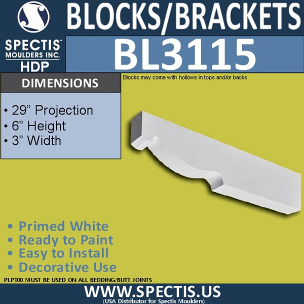 "BL3115 Eave Block or Bracket 3""W x 6""H x 29""P"
