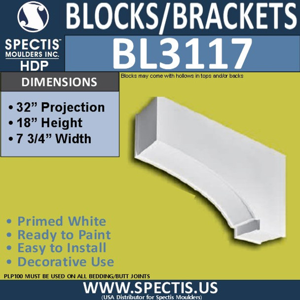 "BL3117 Eave Block or Bracket 7.75""W x 18""H x 32""P"