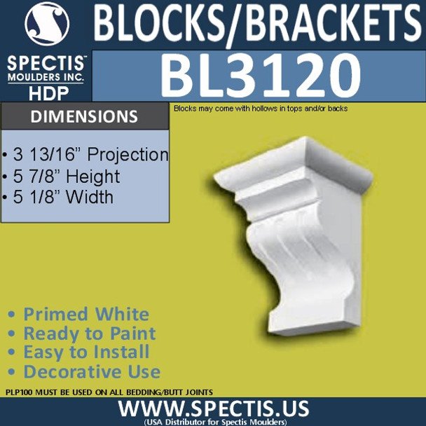 "BL3120 Eave Block or Bracket 5.12""W x 5.87""H x 3.81""P"