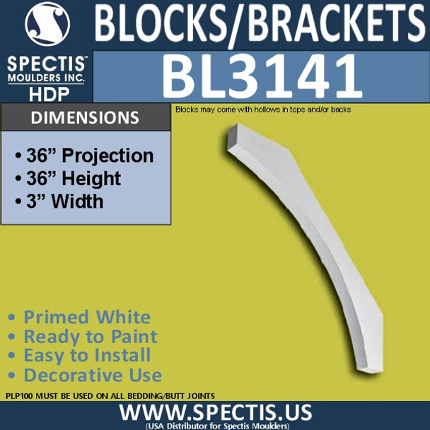 "BL3141 Eave Block or Bracket 3""W x 36""H x 36""P"