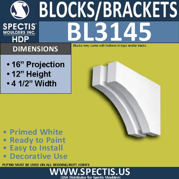 "BL3145 Eave Block or Bracket 4.5""W x 12""H x 16""P"