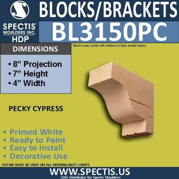 "BL3150PC Pecky Cypress Eave Block or Bracket 4""W x 7""H x 8""P"