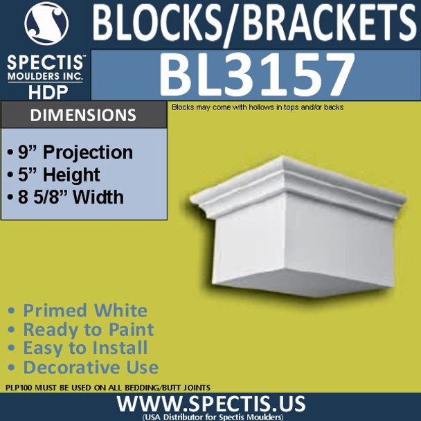 "BL3157 Eave Block or Bracket 8.62""W x 5""H x 9""P"