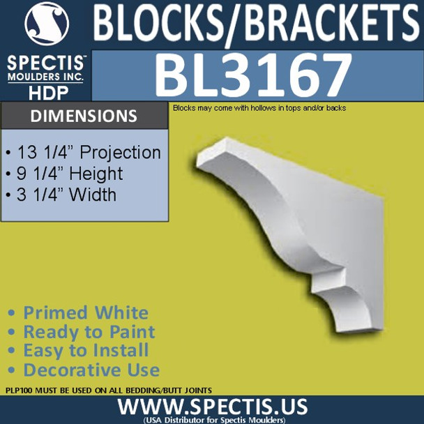 "BL3167 Eave Block or Bracket 3.25""W x 9.25""H x 13.25""P"