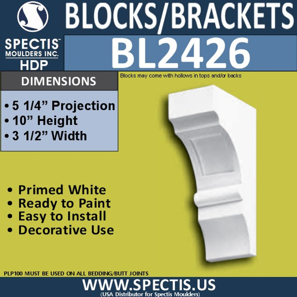 "BL2426 Eave Block or Bracket 3.5""W x 10""H x 5.25"" P"