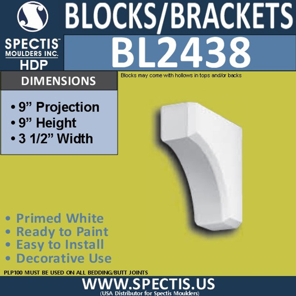 "BL2438 Eave Block or Bracket 3.5""W x 9""H x 9"" P"