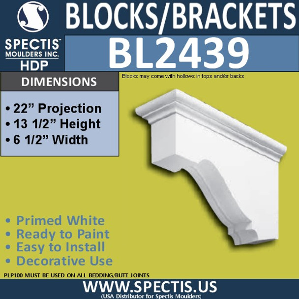 "BL2439 Eave Block or Bracket 6.5""W x 12.5""H x 22"" P"