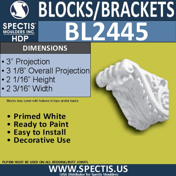 "BL2445 Eave Block or Bracket 2""W x 2""H x 3"" P"