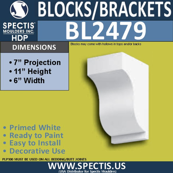 "BL2479 Eave Block or Bracket 6""W x 11""H x 7"" P"