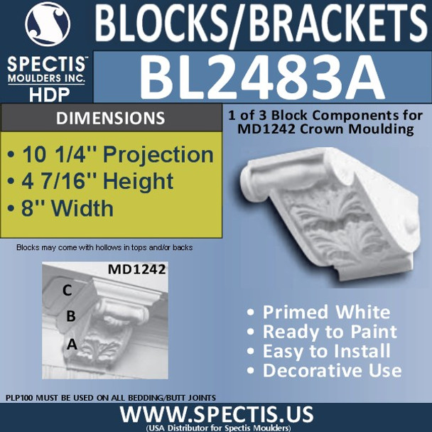 "BL2483A Eave Block or Bracket 8""W x 5""H x 10.25"" P"