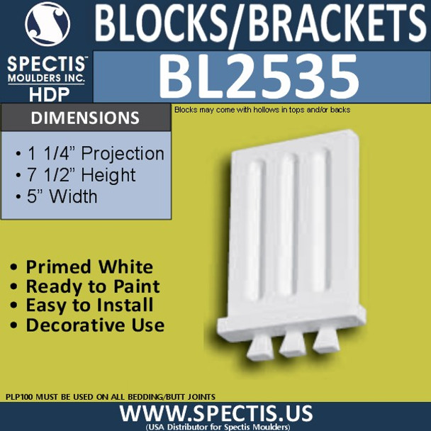 "BL2535 Eave Block or Bracket 5""W x 7.5""H x 1.25"" P"