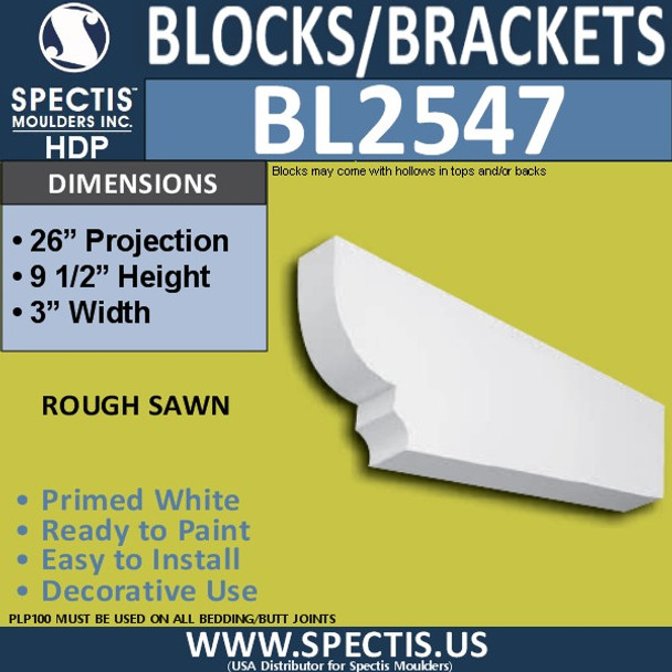 "BL2547 Eave Block or Bracket 3""W x 9.5""H x 26"" P"