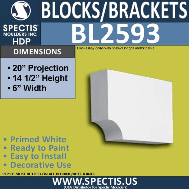"BL2593 Eave Block or Bracket 6""W x 14.5""H x 20"" P"