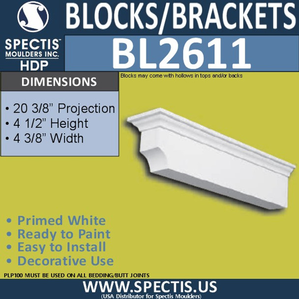 "BL2611 Eave Block or Bracket 4.2""W x 4.5""H x 20.2"" P"