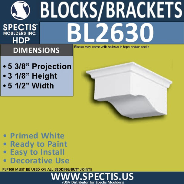 "BL2630 Eave Block or Bracket 5.5""W x 3.125""H x 5.4"" P"