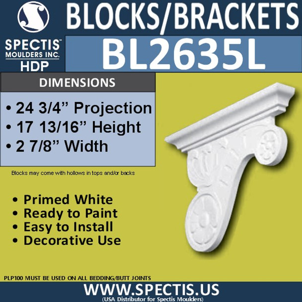 "BL2635L Left Block or Bracket 3.25""W x 17.75""H x 24.75"" P"