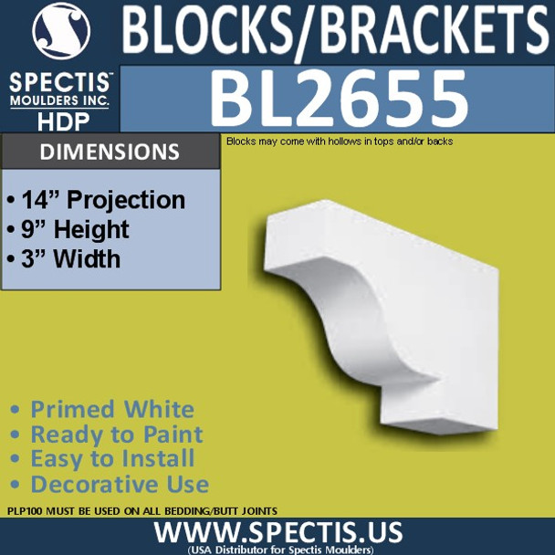 "BL2655 Eave Block or Bracket 3""W x 9""H x 14"" P"