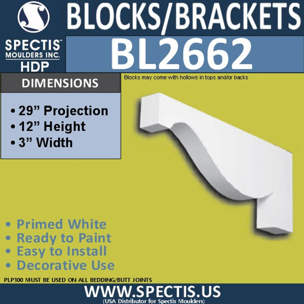 "BL2662 Eave Block or Bracket 3""W x 12""H x 29.1"" P"