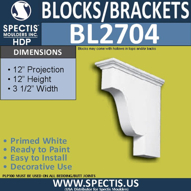 "BL2704 Eave Block or Bracket 6""W x 4""H x 4"" P"