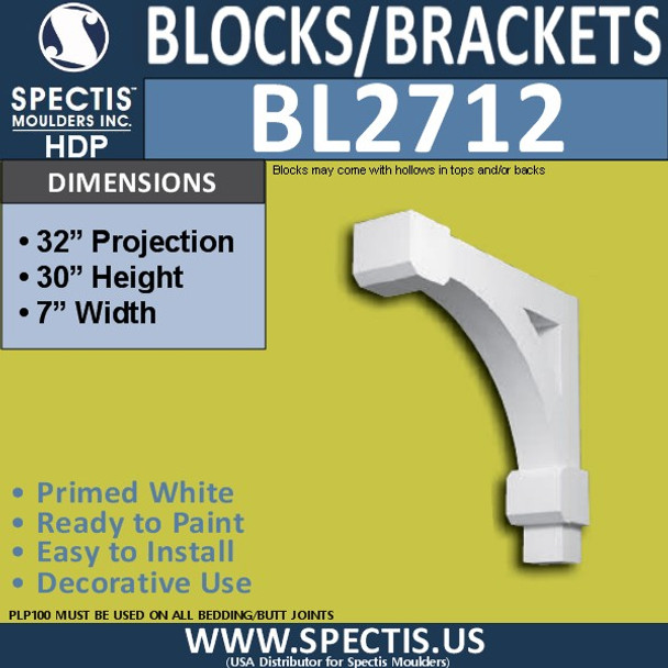"BL2712 Eave Block or Bracket 7""W x 30""H x 32"" P"