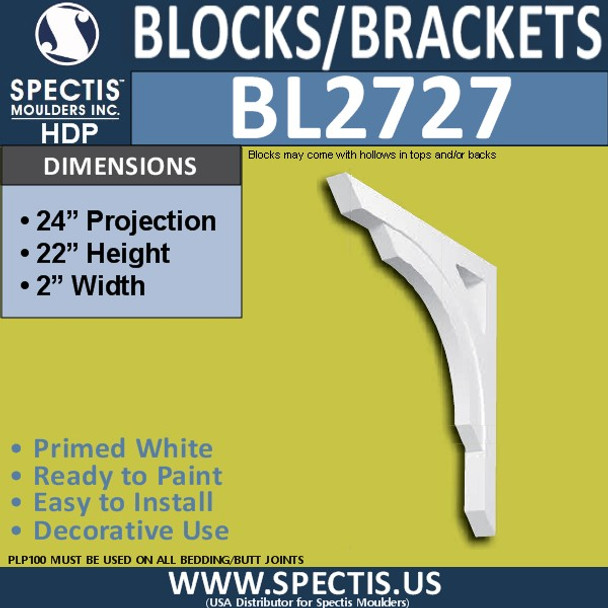 "BL2727 Eave Block or Bracket 2""W x 22""H x 24"" P"