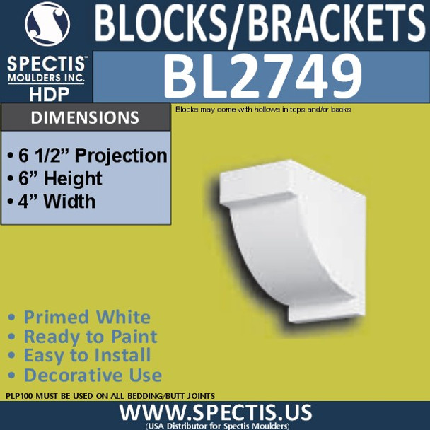 "BL2749 Eave Block or Bracket 4""W x 6""H x 6.5"" P"