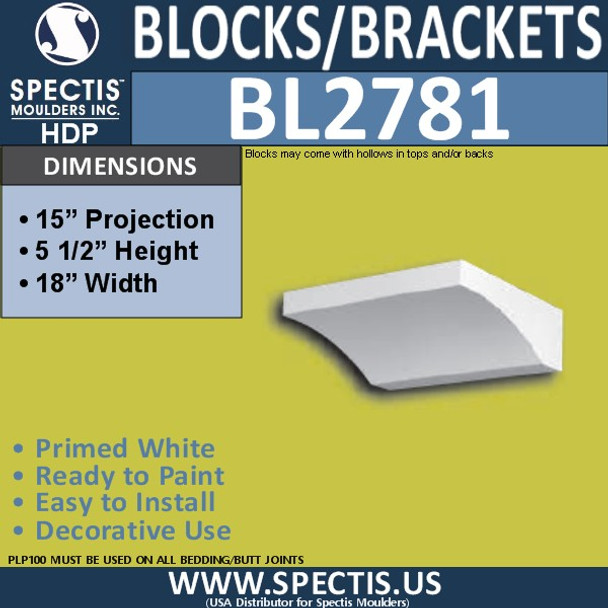 "BL2781 Eave Block or Bracket 18""W x 5.5""H x 15"" P"