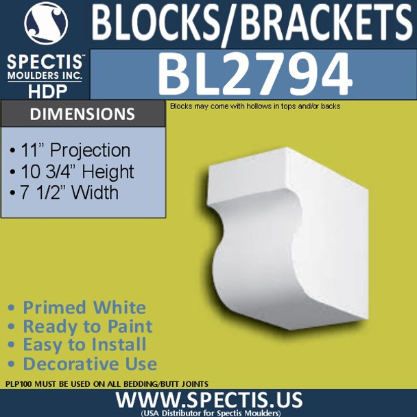 "BL2794 Eave Block or Bracket 7.5""W x 10.75""H x 11"" P"