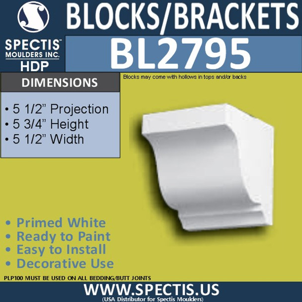 "BL2795 Eave Block or Bracket 5.5""W x 5.75""H x 5.5"" P"