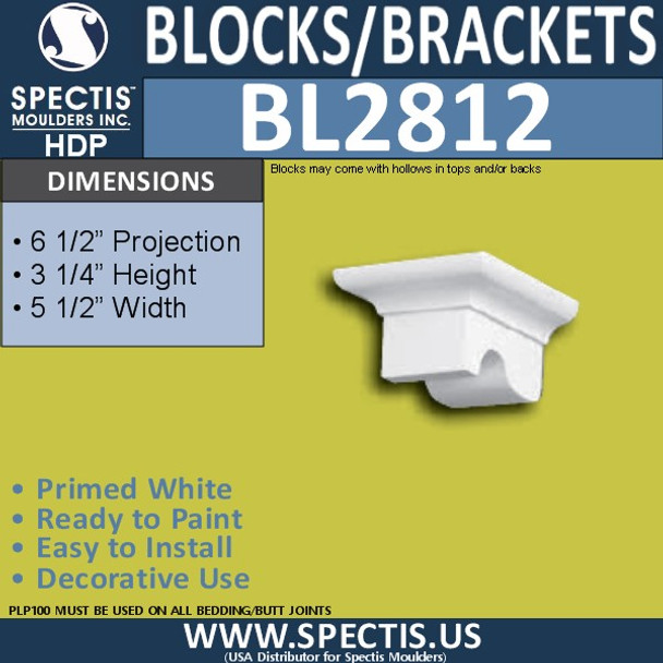 "BL2812 Eave Block or Bracket 5.5""W x 3.25""H x 6.5"" P"