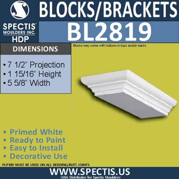 "BL2819 Eave Block or Bracket 2""W x 5.6""H x 7.5"" P"