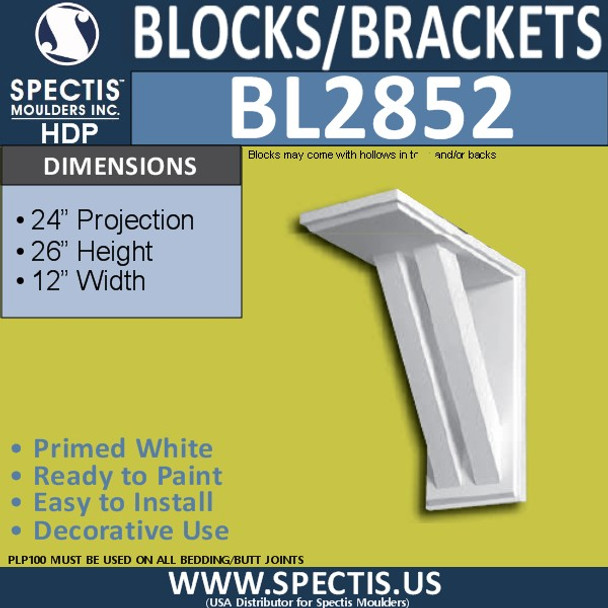 "BL2852 Eave Block or Bracket 12""W x 26""H x 24"" P"