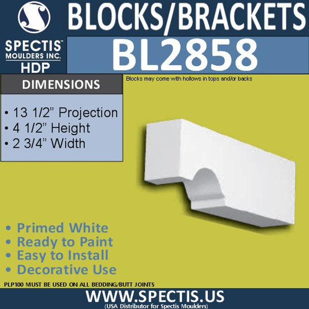 "BL2858 Eave Block or Bracket 2.75""W x 4.5""H x 13.5"" P"
