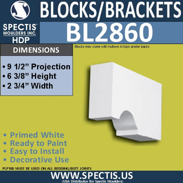 "BL2860 Eave Block or Bracket 2.75""W x 6.5""H x 9.5"" P"