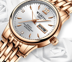 Alarm Female Watch Women Dress Rose-Gold Stainless-Steel Appearance Quartz Brand Dress Watches