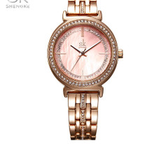 Shengke Dress Watch Alarm Female Quartz Rose-Gold Stainless-Steel Appearance Luxury Mop Dress Watches