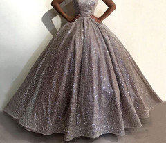 Ball-Gown Evening-Gowns Sparkly Silverlitter Arabic-Style Formal Long Spaghetti-Strap Formal Evening Gowns