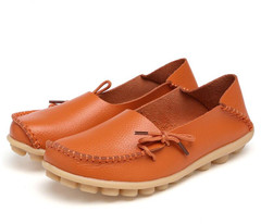 Aphixta Loafers Flats Shoe Moccasins Flat-Ballet-Footwearenuine-Leather Muler Femaleenuine Leather Mother Shoes