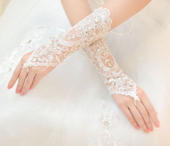 1 Pair Bride Shortloves Chaplet Rhinestone Lace Fingerless Weddingsloves Womens Gloves Winter