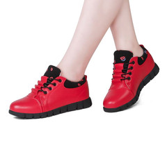 Shoes Woman Impulsive  Sneakers Comfortable Lace-Up Spring Mujer Red Zapatillas Womens Flats