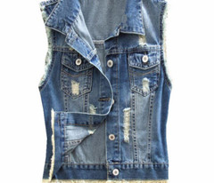 4Xl Womens Vests Sleeveless Ripped Holes Button Appearance Jeans Vest Tops Waistcoat Women