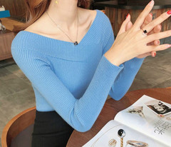 Abject Sweater Pullovers Long-Sleeve Off-Shoulder V-Neck Knit Winter Solid Animation Womens Pullover Long Sleeve Sweaters
