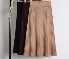 Knit Skirts Winter Pleated Female Long High-Waist Women Impulsive