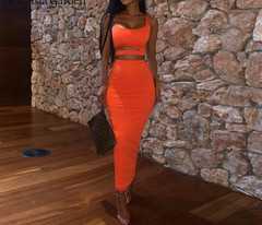 2Piece-Outfits Matching-Sets Crop-Top Club Party Double-Layers Summer And Newasia Hollow-Out Skirt Set