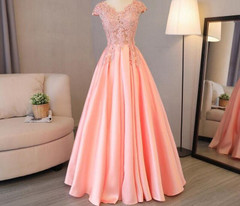 Neck   Line Beadings Long Evening Dresses Short Sleeve Party Lace Embroidery Promowns Formal Evening Gowns