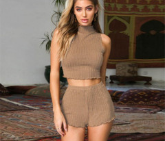 Sexy Short Two Piece Set Crop Tops And Shorts Solid Bodycon Matching Sets Summer Clothes For Women Club Outfits Womens Shorts Suit Set